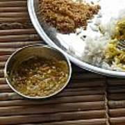 A Typical Plate Of Indian Rajasthani Food On A Bamboo Table Poster
