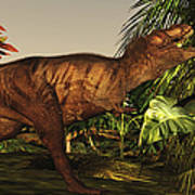 A Tyrannosaurus Rex Runs Poster by Corey Ford