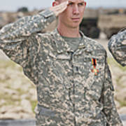 A U.s Army Soldier And Recipient Poster