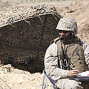 A U.s. Marine Communicates With Close Poster