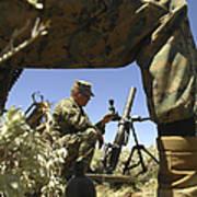 A U.s. Marine Mortarman Trains On An Poster