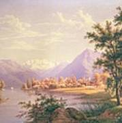 A View Of Scherzingen On The Lake Of Thun Poster by Jakob Suter