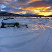 A Winter Sunset Over Tjeldsundet Poster by Arild Heitmann