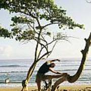 A Woman Stretches On A Beach Poster by Skip Brown