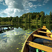 A Wooden Boat On A Lake In Suwalki Lake District Poster by Slawek Staszczuk