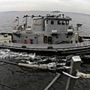 A Yokosuka Naval Tugboat Prepares Poster