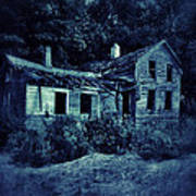 Abandoned House At Night Poster