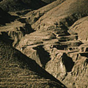Abandoned Terraced Fields On Arid Hills Poster