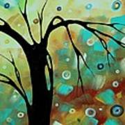 Abstract Art Original Landscape Painting Colorful Circles Morning Blues IIi By Madart Poster