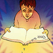 Abstract Artwork Of A Dyslexic Boy Reading A Book Poster by David Gifford
