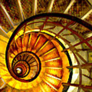 Abstract Golden Nautilus Spiral Staircase Poster