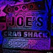 Abstract Joe's Crabshack Sign Poster