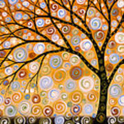 Abstract Modern Tree Landscape Dreams Of Gold By Amy Giacomelli Poster