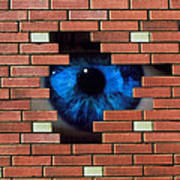 Abstract Of Eye Looking Through Hole In Brick Wall Poster