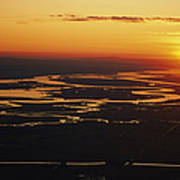 Aerial Sunset Of The Suisun Slough Poster