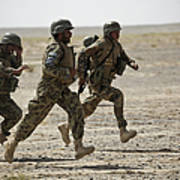 Afghan National Army Soldiers Run Poster