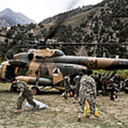 Afghan National Army Soldiers Unload Poster