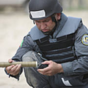 Afghan Police Student Prepares Poster