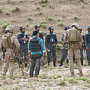 Afghan Police Students Listen To U.s Poster