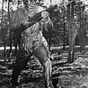 African-american Soldier Charging Poster