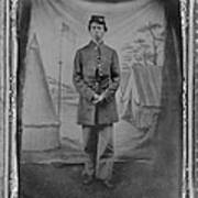 African American Soldier Posed In Front Poster by Everett