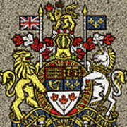 Aged And Cracked Canada Coat Of Arms Poster
