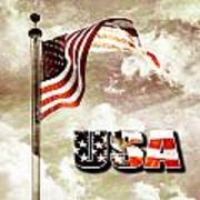 Aged Usa Flag On Pole Poster