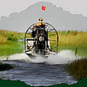 Air-boating Florida Everglades Poster