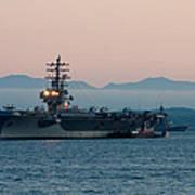 Aircraft Carrier At Sunset - Uss Ronald Reagan Poster