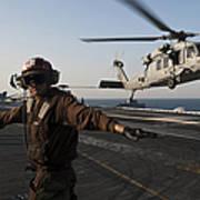 Airman Checks For A Clear Deck As An Poster