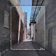 Alley With Guy Reading Layered Poster by Anita Burgermeister