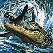 Alligator Eating Fish Poster