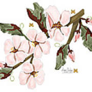 Almond Branch With Flowers And Leaves Poster
