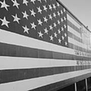 American Flag At Nathan's In Black And White Poster