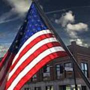 American Flag Flowing In Urban Landscape Poster