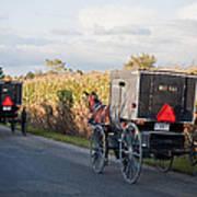 Amish Buggies October Road Poster