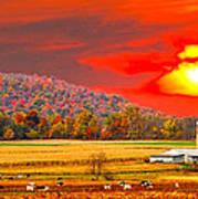 Amish Farm Sundown Poster by Randall Branham