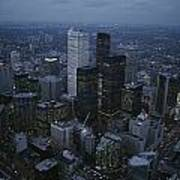 An Aerial View Of Toronto At Dusk Poster