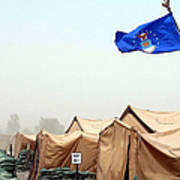 An Air Force Flag In Tent City Waves Poster
