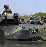 An Amphibious Assault Vehicle Enters Poster