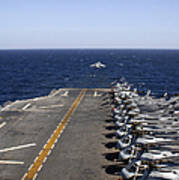 An Av-8b Takes Off From The Flight Deck Poster
