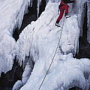 An Ice Climber On Habeggers Falls Poster