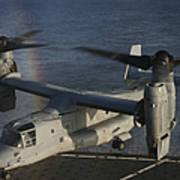 An Mv-22 Osprey Prepares To Land Aboard Poster