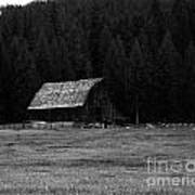 An Old Barn In Black And White Poster