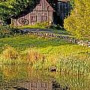 An Old Barn Reflected In The Pond Water Poster
