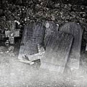 An Old Cemetery With Grave Stones And Fog Poster