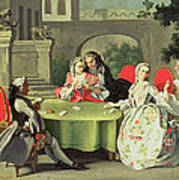 An Ornamental Garden With Elegant Figures Seated Around A Card Table Poster