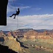 Andy Marquardt Rappels Down A Cliff Poster