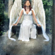 Angel On Stone Bench Looking Up Into The Light Poster