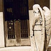 Angel Outside Cemetery Mausoleum Door Poster